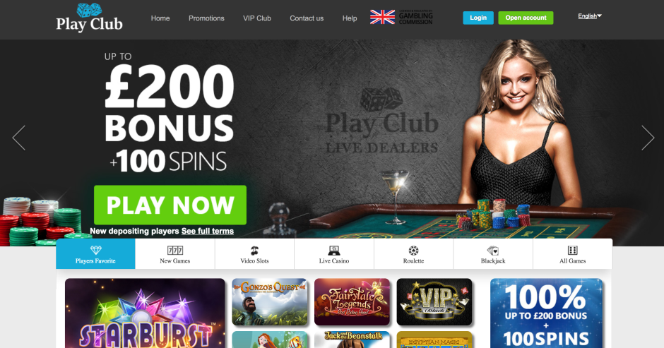 PLAYCLUB casino landing page